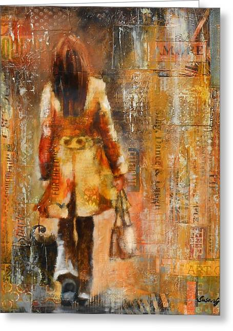 Abstract Purse Greeting Cards - Abstract Lady  5 Greeting Card by Susan Goh