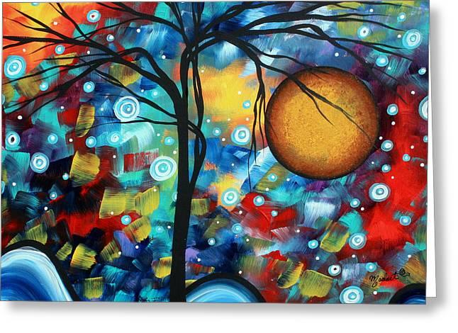 Abstract Landscap Art Original Circle of Life Painting SWEET SERENITY by MADART Greeting Card by Megan Duncanson