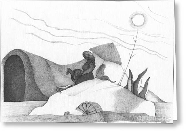 Intrigue Drawings Greeting Cards - Abstract Landscape Art Black And White Beach Cirque De Mor By Romi Greeting Card by Megan Duncanson