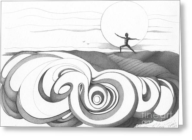 Intrigue Drawings Greeting Cards - Abstract Landscape Art Black And White Yoga Zen Pose Between The Lines By Romi Greeting Card by Megan Duncanson