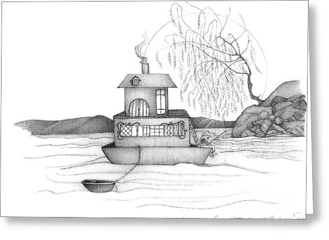 Intrigue Drawings Greeting Cards - Abstract Landscape Art Black And White Boat House Annies River By Romi Greeting Card by Megan Duncanson