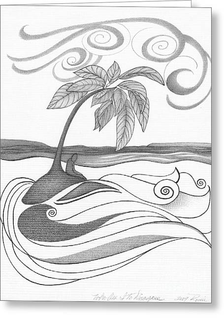 Intrigue Drawings Greeting Cards - Abstract Landscape Art Black And White Coastal Who am I to Disagree By Romi Greeting Card by Megan Duncanson