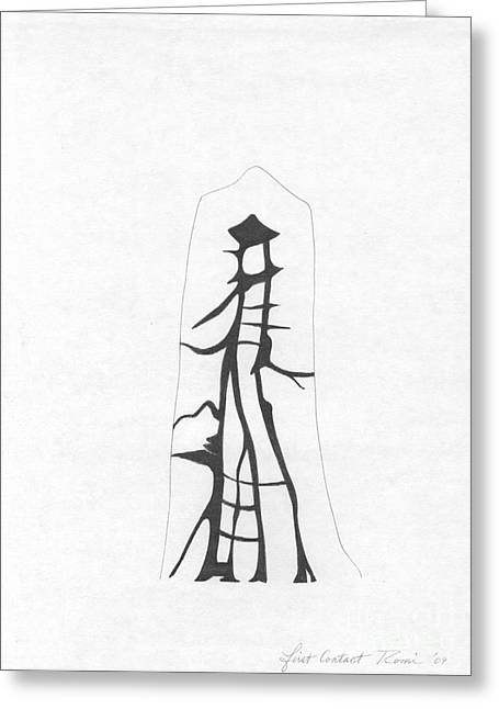 Intrigue Drawings Greeting Cards - Abstract Landscape Art Black And White First Contact By Romi Greeting Card by Megan Duncanson