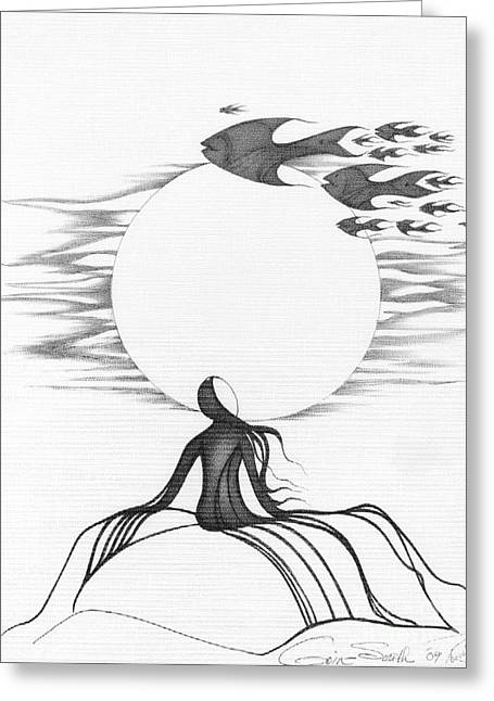 Intrigue Drawings Greeting Cards - Abstract Landscape Art Black And White Goin South By Romi Greeting Card by Megan Duncanson