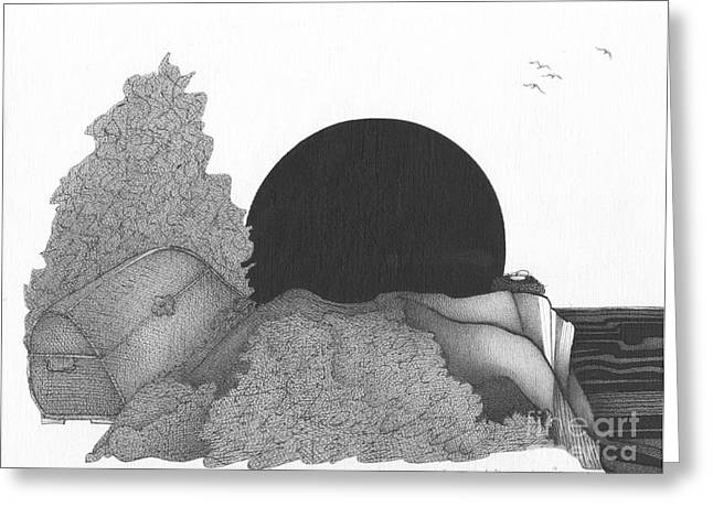 Intrigue Drawings Greeting Cards - Abstract Landscape Art Black And White Landscape Dead Mans Chest By Romi Greeting Card by Megan Duncanson