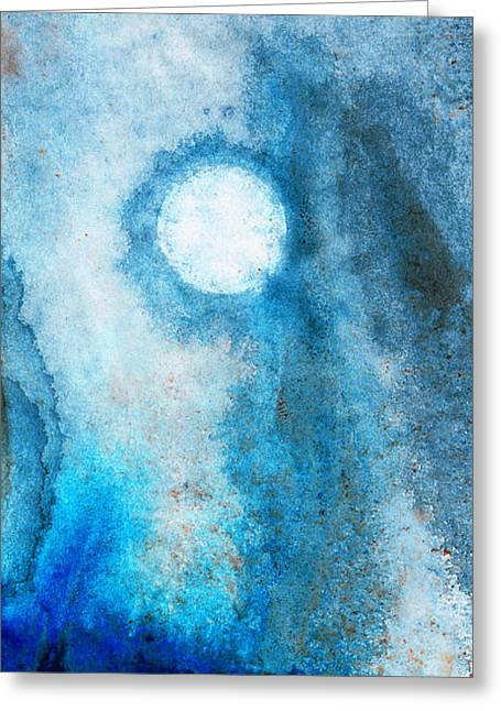 Misty Landscape Greeting Cards - Abstract Landscape Art - Blue Moon - By Sharon Cummings Greeting Card by Sharon Cummings