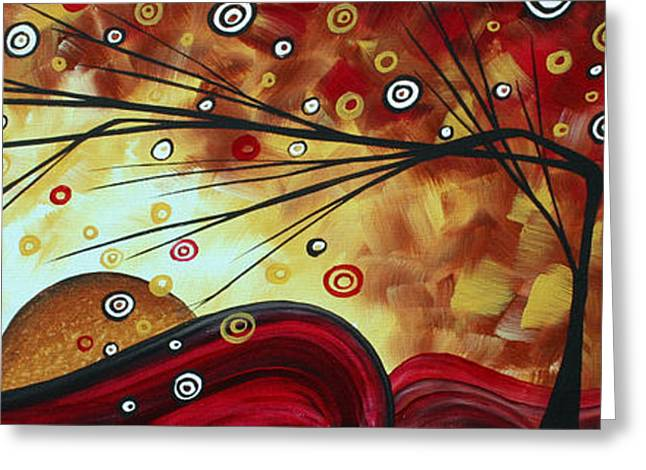 D�cor Greeting Cards - Abstract Landscape Art Original Colorful Heavy Whimsical Painting RISE ABOVE by MADART Greeting Card by Megan Duncanson
