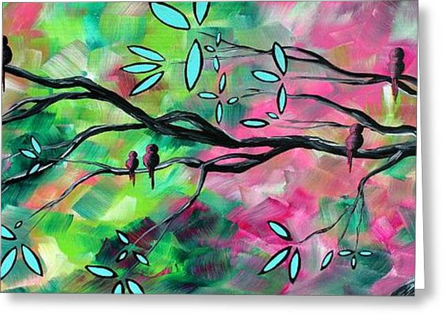 Megan Greeting Cards - Abstract Landscape Bird and Blossoms Original Painting BIRDS DELIGHT by MADART Greeting Card by Megan Duncanson