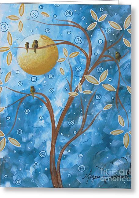 Unique Art Greeting Cards - Abstract Landscape Bird Painting Original Art Blue Steel 1 by Megan Duncanson Greeting Card by Megan Duncanson
