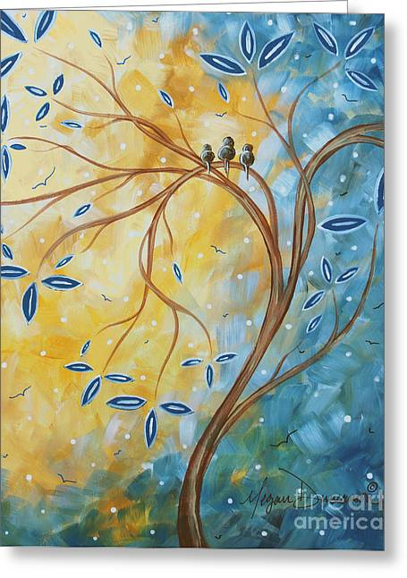 Unique Art Paintings Greeting Cards - Abstract Landscape Bird Painting Original Art Blue Steel 2 by Megan Duncanson Greeting Card by Megan Duncanson