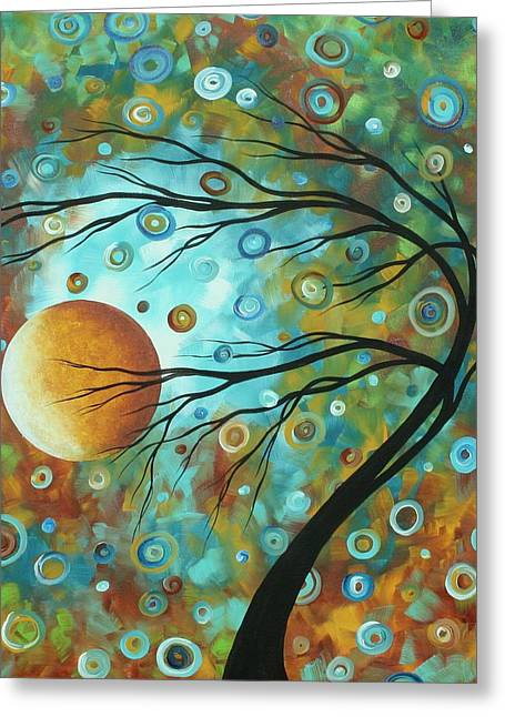 Abstract Landscape Circles Art Colorful Oversized Original Painting Pin Wheels In The Sky By Madart Greeting Card by Megan Duncanson