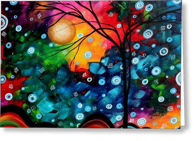 Unique Art Paintings Greeting Cards - Abstract Landscape Colorful Contemporary Painting by Megan Duncanson Brilliance in the Sky Greeting Card by Megan Duncanson