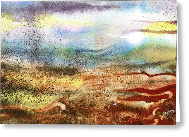 Abstract Style Greeting Cards - Abstract Landscape Morning Mist Greeting Card by Irina Sztukowski