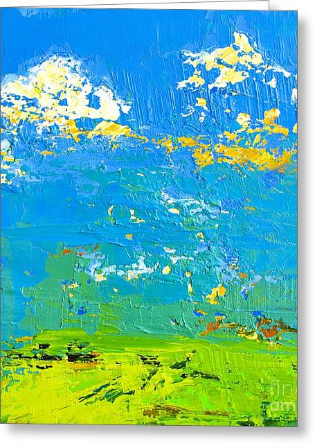 Green And Yellow Abstract Greeting Cards - Abstract Landscape No 8 Greeting Card by Patricia Awapara