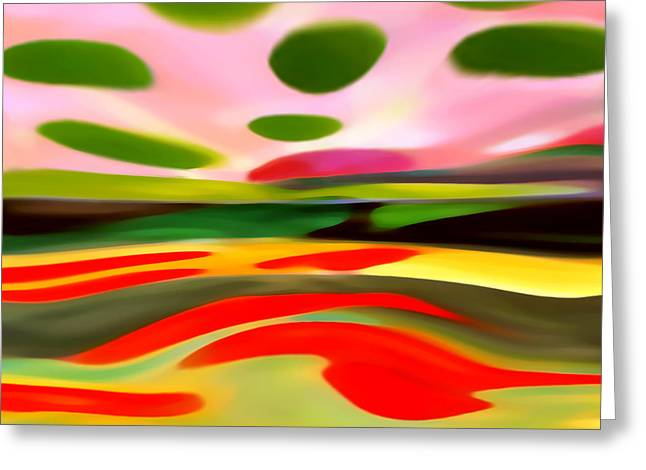 Abstract Nature Greeting Cards - Abstract Landscape of Happiness Greeting Card by Amy Vangsgard