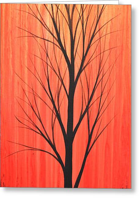 Sunset Prints Greeting Cards - Abstract Landscape Original Trees Art Print Painting ... Twilight Trees #1 Greeting Card by Amy Giacomelli