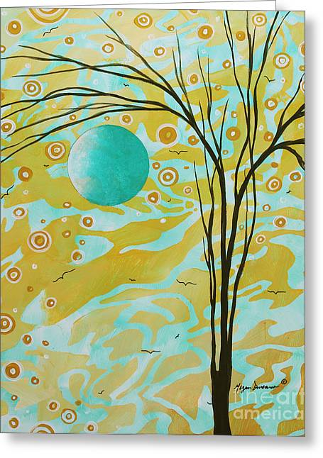 Opulent Paintings Greeting Cards - Abstract Landscape Painting Animal Print Pattern Moon and Tree by MADART Greeting Card by Megan Duncanson