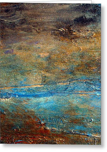 Acrylic Pour Greeting Cards -  RUSTIC abstract landscape painting Greeting Card by Holly Anderson