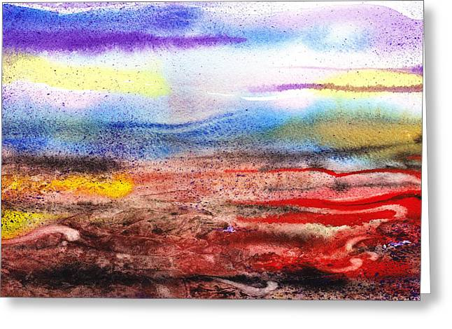 Early Morning Sun Greeting Cards - Abstract Landscape Purple Sunrise Early Morning Greeting Card by Irina Sztukowski