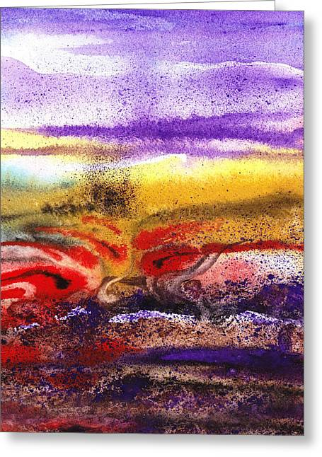 Abstract Style Greeting Cards - Abstract Landscape Purple Sunrise Earthy Swirl Greeting Card by Irina Sztukowski