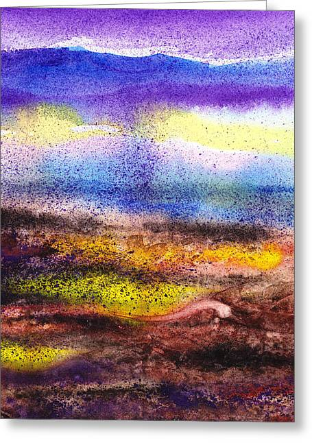 Abstract Style Greeting Cards - Abstract Landscape Purple Sunrise Yellow Fog Greeting Card by Irina Sztukowski