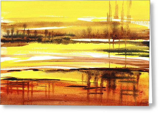 Enchanting Wall Art Greeting Cards - Abstract Landscape Reflections I Greeting Card by Irina Sztukowski