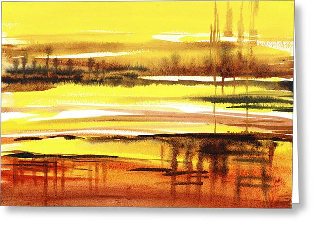 Recently Sold -  - Red Abstracts Greeting Cards - Abstract Landscape Reflections I Greeting Card by Irina Sztukowski