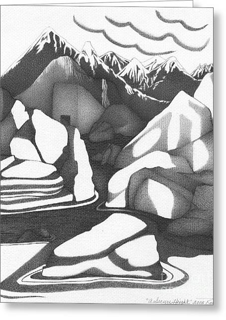 Intrigue Drawings Greeting Cards - Abstract Landscape Rock Art Black And White By Romi Greeting Card by Megan Duncanson