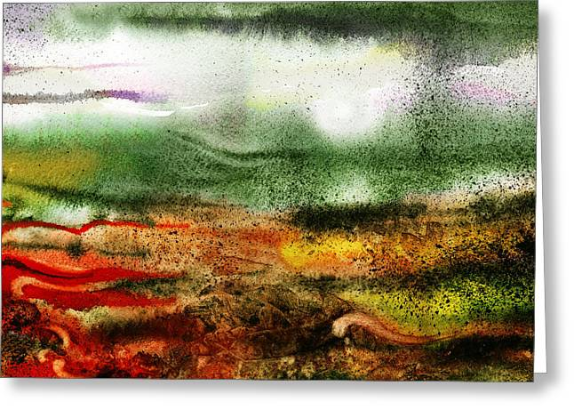 Impressive Greeting Cards - Abstract Landscape Sunrise Sunset Greeting Card by Irina Sztukowski