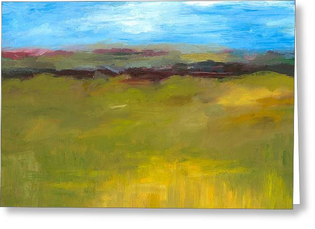 Purple Abstract Greeting Cards - Abstract Landscape - The Highway Series Greeting Card by Michelle Calkins