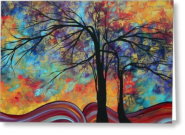 Abstract Landscape Tree Art Colorful Gold Textured Original Painting Colorful Inspiration By Madart Greeting Card by Megan Duncanson