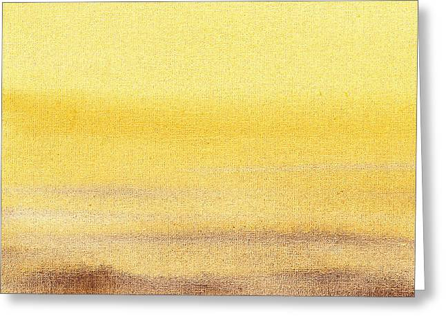 Abstractions Greeting Cards - Abstract Landscape Yellow Glow Greeting Card by Irina Sztukowski
