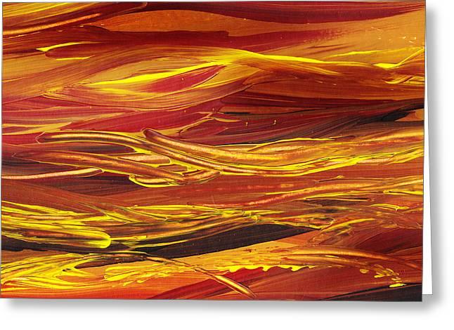 Abstract Landscape Yellow Hills Greeting Card by Irina Sztukowski