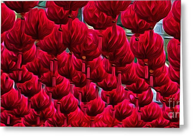 Shades Of Red Greeting Cards - Abstract Lanterns Greeting Card by Kaye Menner