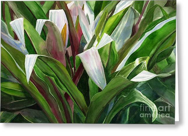 Tropical Leaves Greeting Cards - Abstract Leaf Design Greeting Card by Sharon Freeman