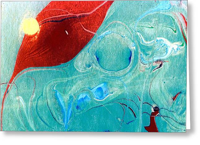 Abstract Water And Fall Leaves Greeting Cards - Abstract Leaf in a Pool of Water Greeting Card by Karin Kohlmeier