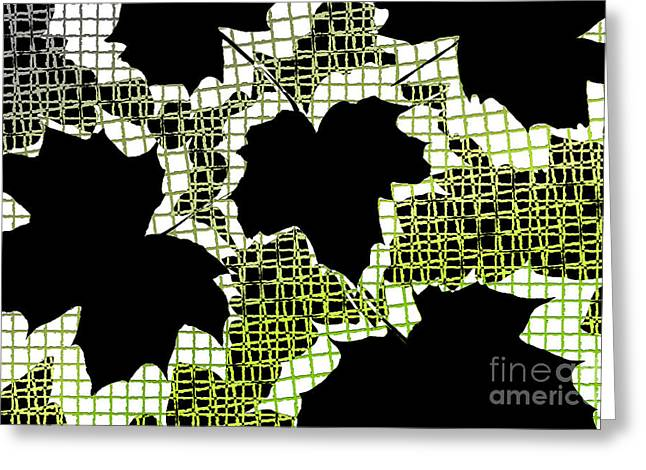 Abstract Leaf Pattern - Black White Lime Green Greeting Card by Natalie Kinnear