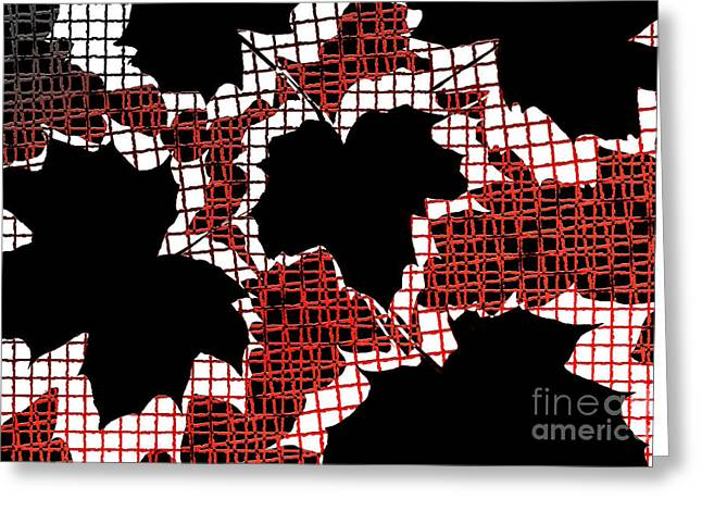 Lounge Digital Art Greeting Cards - Abstract Leaf Pattern - Black White Red Greeting Card by Natalie Kinnear