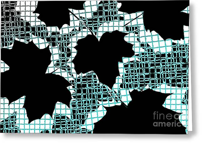 Lounge Digital Art Greeting Cards - Abstract Leaf Pattern - Black White Turquoise Greeting Card by Natalie Kinnear