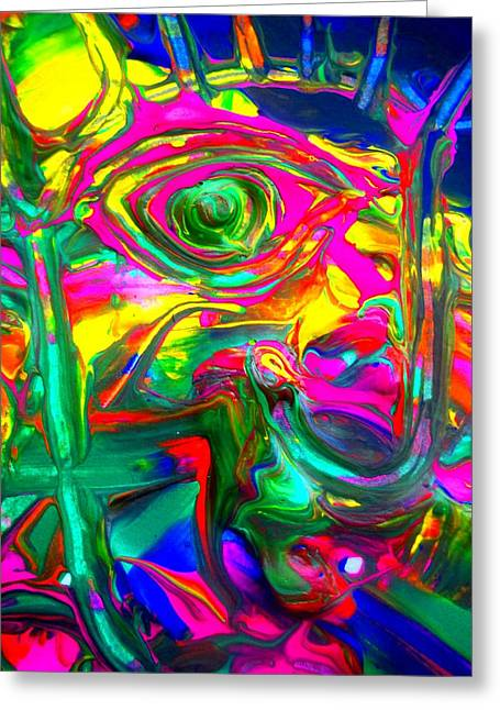 Statue Portrait Paintings Greeting Cards - Abstract Liberty Greeting Card by David Rogers