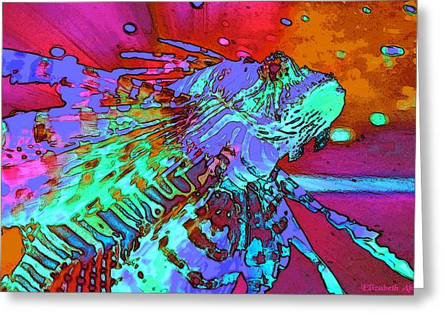 Lions Greeting Cards - Abstract Lion Fish Greeting Card by Elizabeth Abbott