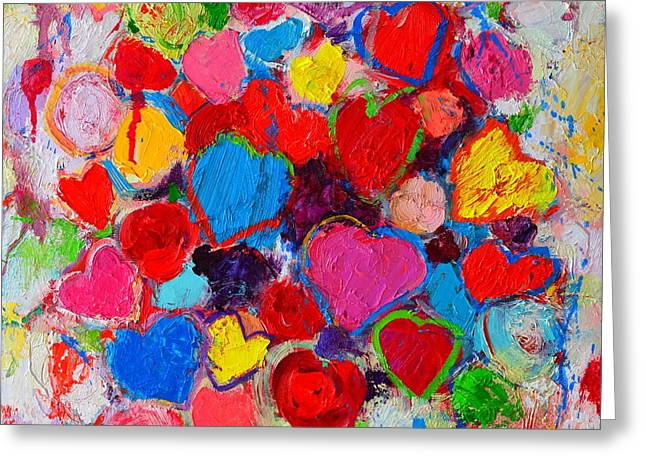 Abstract Forms Greeting Cards - Abstract Love Bouquet Of Colorful Hearts And Flowers Greeting Card by Ana Maria Edulescu
