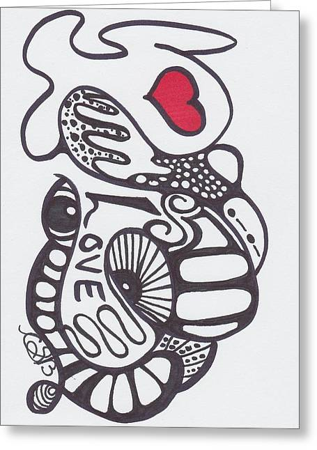 Harts Drawings Greeting Cards - Abstract Love Greeting Card by Carrie Stewart
