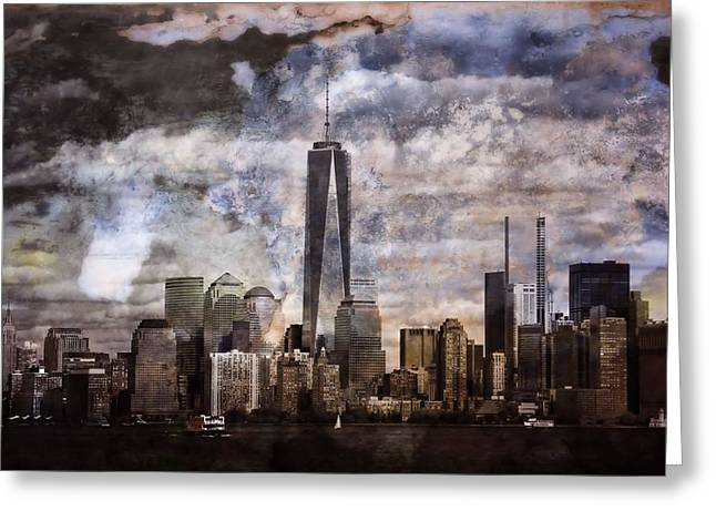 New Mind Greeting Cards - Abstract Manhattan Skyline Greeting Card by Dan Sproul
