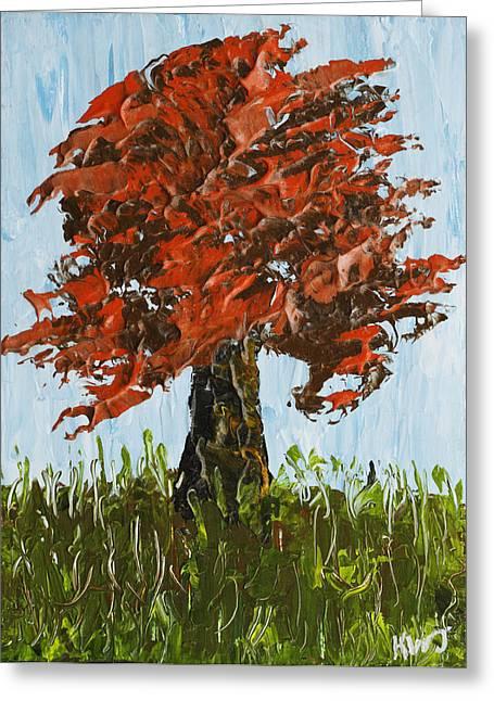 Lone Greeting Cards - Abstract Maple Tree Palette Knife Painting Greeting Card by Keith Webber Jr