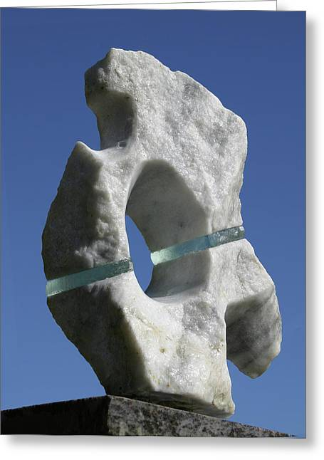 Stronger Sculptures Greeting Cards - Abstract Marble and Glass Greeting Card by Tommy  Urbans