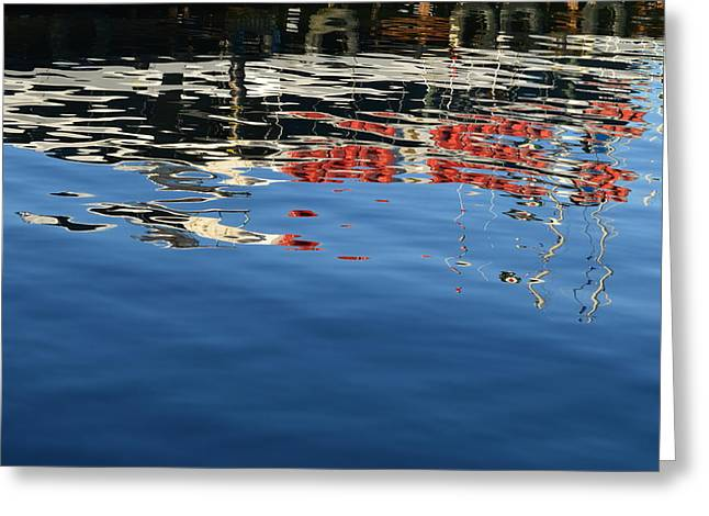 Boats In Reflecting Water Greeting Cards - Abstract Meditation 3 Greeting Card by Anama Art