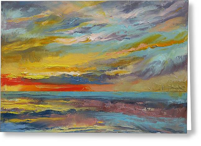 Sunset Abstract Greeting Cards - Abstract Greeting Card by Michael Creese