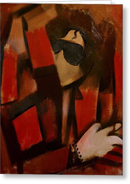 Abstract Cubism Michael Jackson Art Print Greeting Card by Tommervik