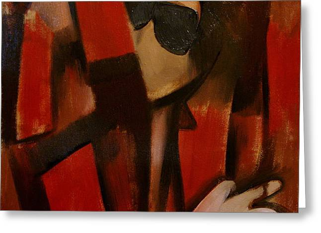 Abstract Michael Jackson Thriller Cubism Painting Greeting Card by Tommervik